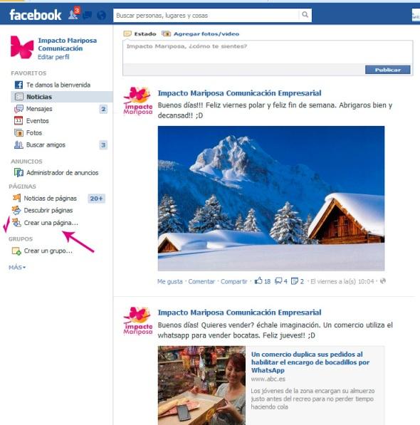Creación página de empresa en facebook